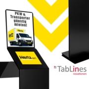 Tabletständer als iPad Terminal für Autovermietung Hertz 24/7