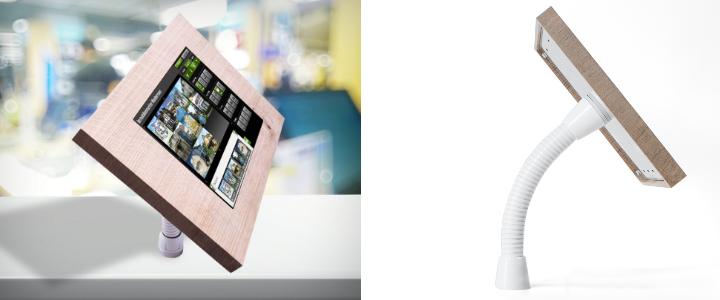 TabLines TTH Tablet Tisch Halterung, weißer flexibler Schwanenhals, Abb. mit Tablet in TSG Schutzgehäuse Eiche