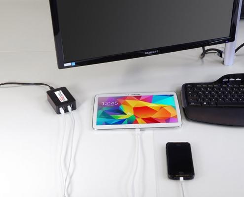 TabLines USB4 C 4Port USB Ladegerät inkl. 1m Kabel mehrere Geräte laden