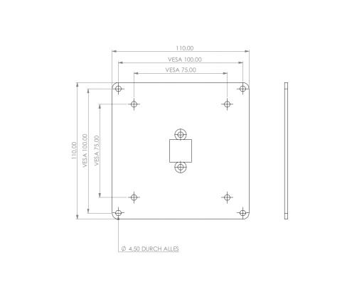 TabLines V042 TBS Adapterplatte VESA 75x75 - 100x100 mm Maße