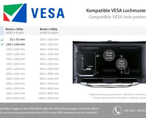 TabLines V042 TBS Adapterplatte VESA-Standard 75x75 - 100x100 mm