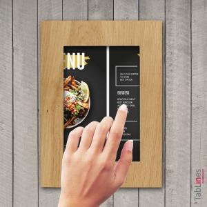 Digitale Speisekarte in Tablet Schutzgehäuse Eiche