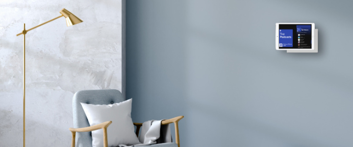 TabLines TWP Wandhalterung, grau, mit iPad, Podcast Anwendung